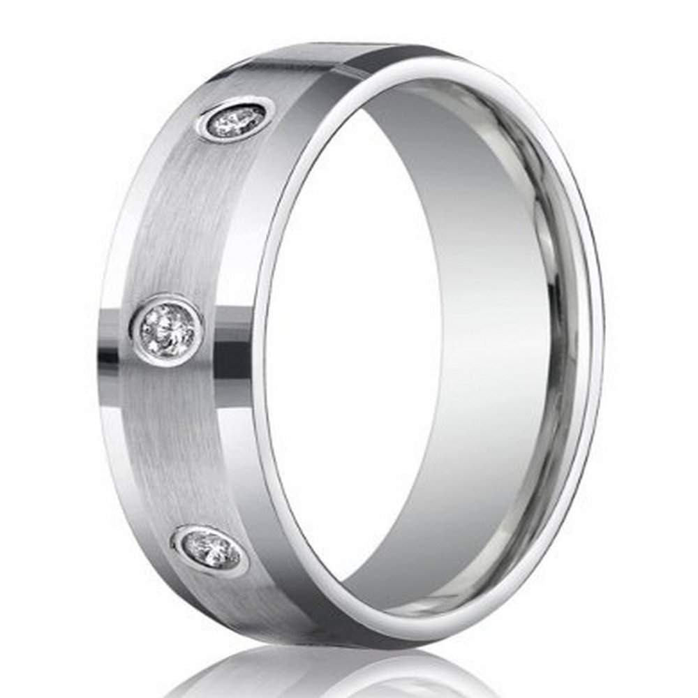 950 platinum wedding ring for men with bezel set diamonds, 6mm
