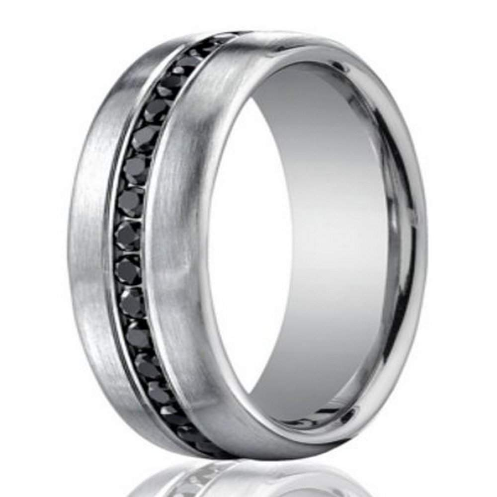 band wedding platinum meteorite jewelry with seymchan mens products black and enamel