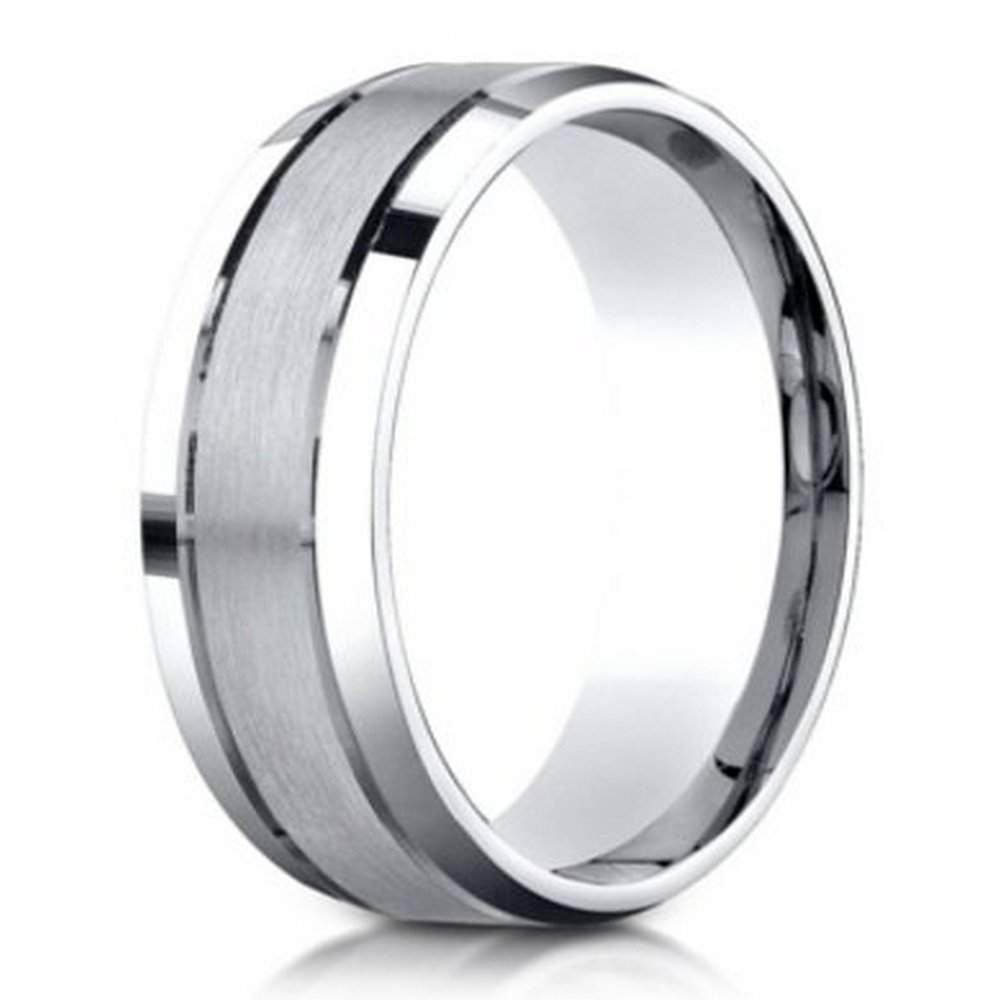 designer palladium mens ring with polished beveled edges 6mm - Palladium Wedding Rings