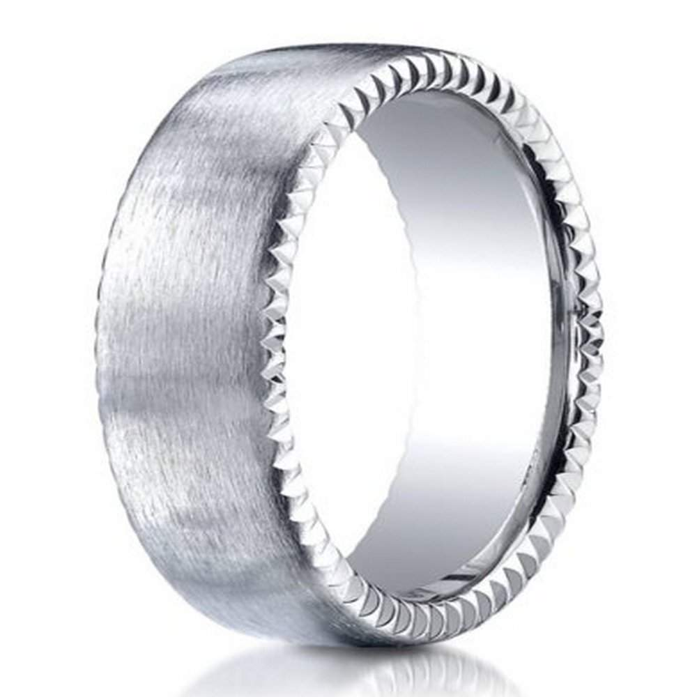 designer palladium mens ring with rivet coin edging 75mm - Palladium Wedding Rings