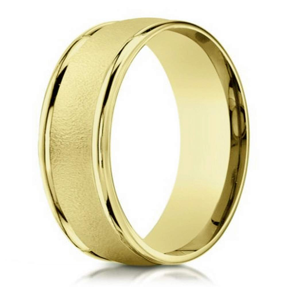 10K designer gold wedding band for men 6mm width