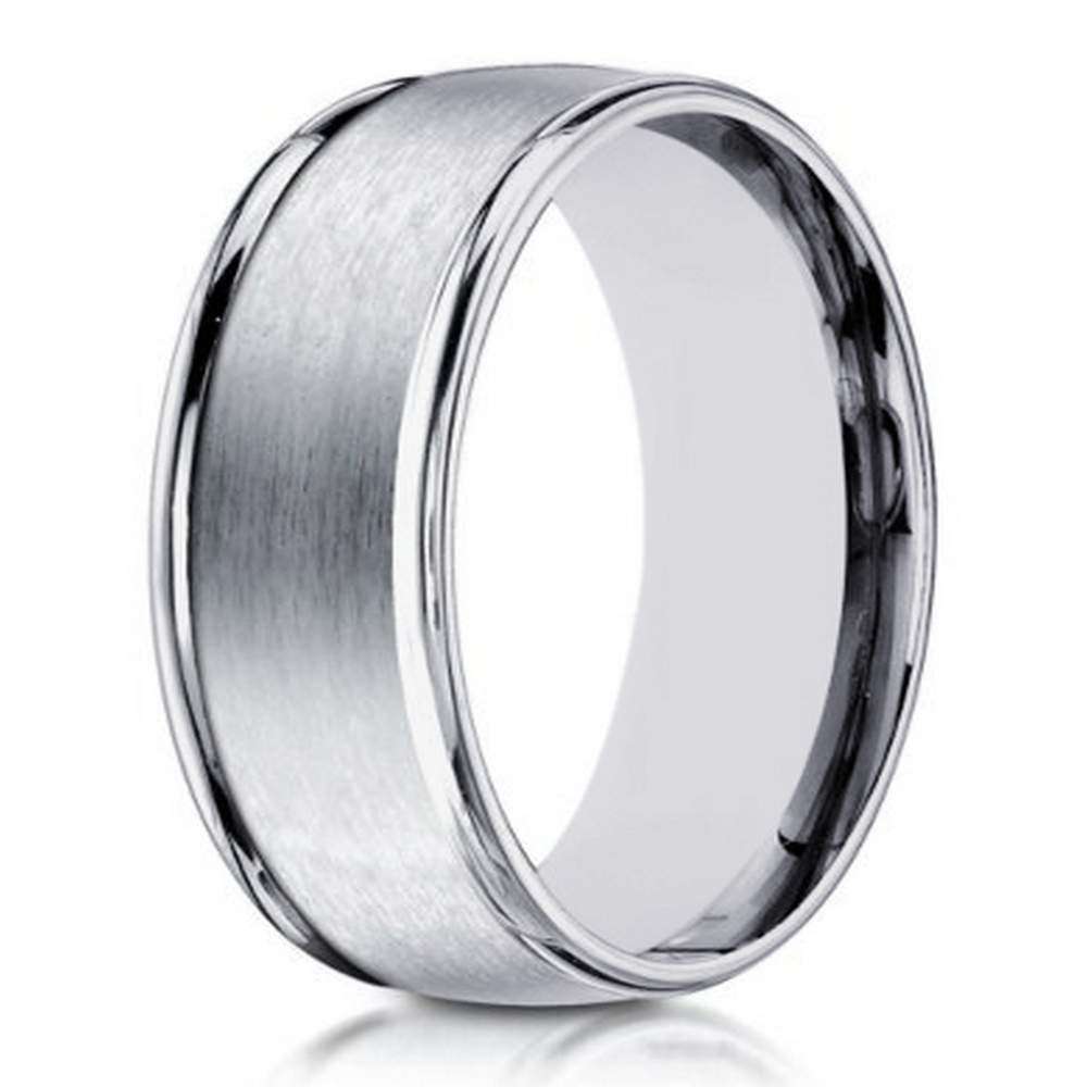 designer 10k white gold wedding ring with polished edges 8mm - Mens White Gold Wedding Ring