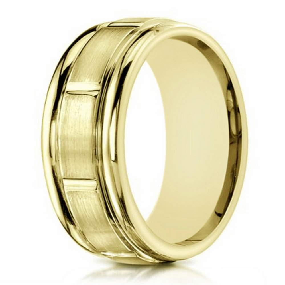 Designer Men S Gold Comfort Fit Wedding Ring 6mm Width