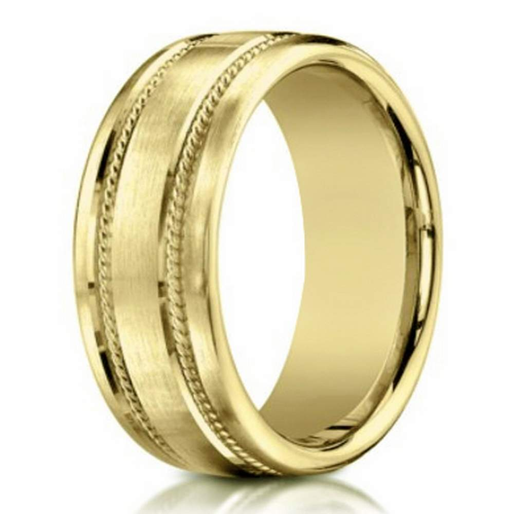 men's 18 k gold wedding ring, rope design | 7.5mm width
