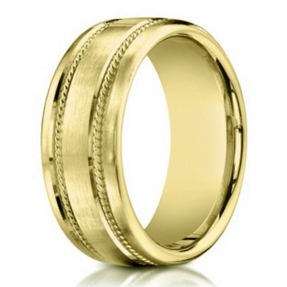 7.5mm men's 14k yellow gold wedding band w/ rope accents