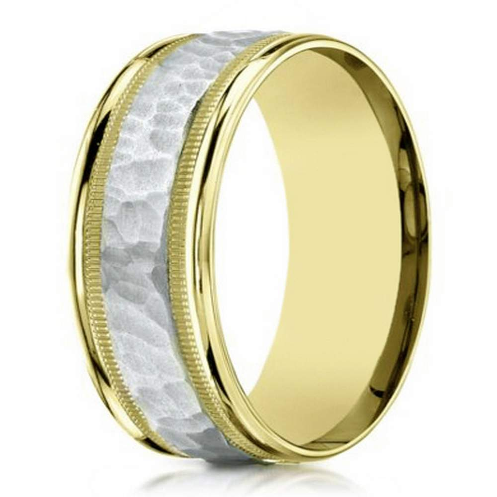 8mm Men S Two Tone 14k Yellow Gold Hammered Center Wedding