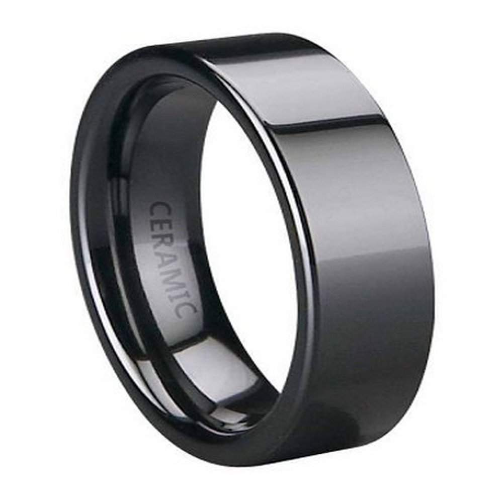 Black Ceramic Wedding Ring For Men, Polished Flat Profile, 6mm