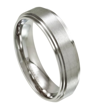 mens stainless steel wedding ring with step down edges 7mm - Stainless Steel Wedding Ring