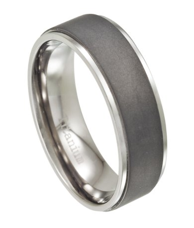 Mens Wedding Bands Titanium.Men S Titanium Wedding Band Matte Finish With Polished Edges 8mm