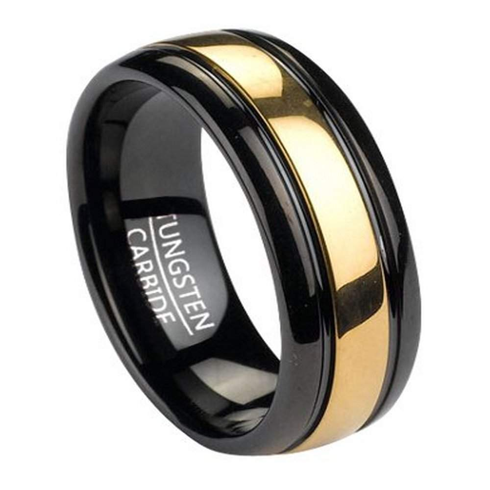Mens Black Tungsten Wedding Bands.Black Tungsten Men S Ring With Gold Tone Inlay 8mm
