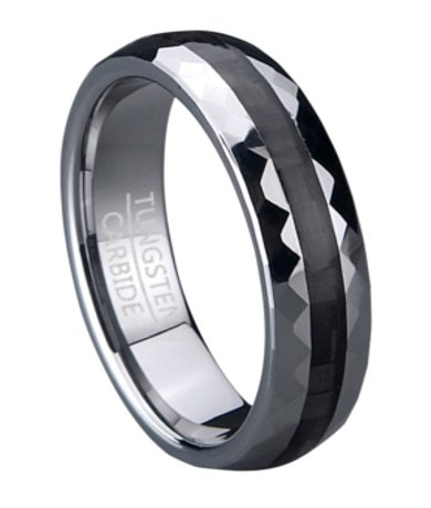 Faceted Tungsten Wedding Band With Black Carbon Fiber Inlay 6mm