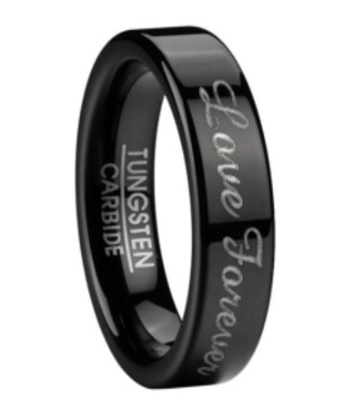 6mm Mens Black Tungsten Wedding Ring With Love Forever Script
