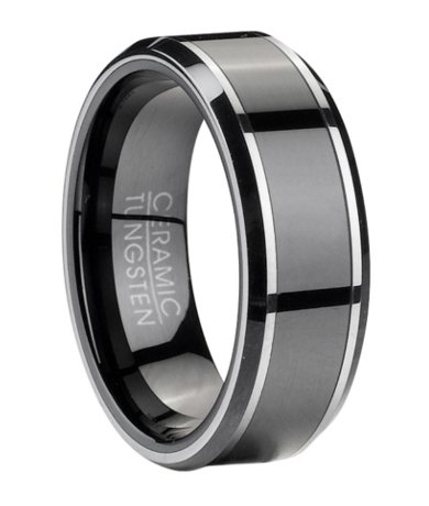 Contemporary Tungsten Wedding Band with Black Ceramic Inlay  9mm