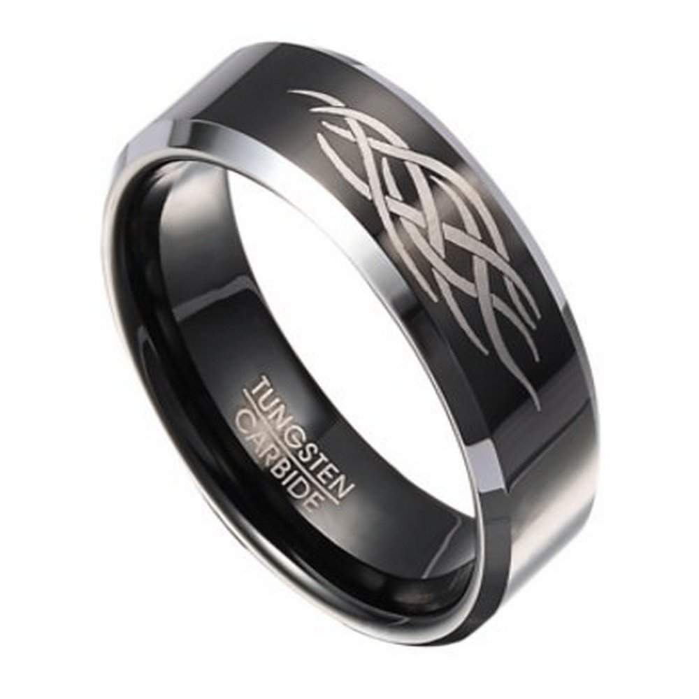 8mm Men\'s Black Tungsten Ring with Abstract Flame Design ...