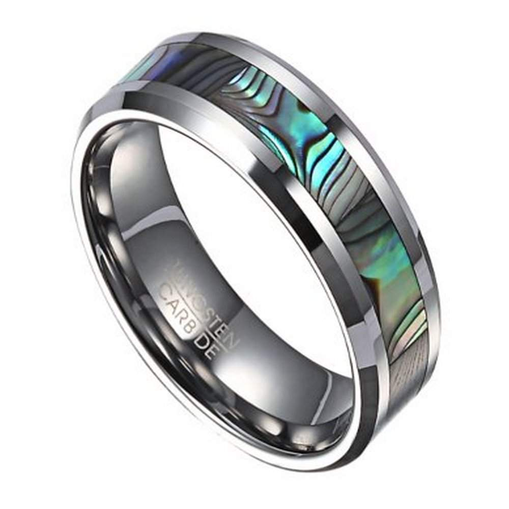 mens fashion ring in tungsten with abalone shell inlay 8mm - Mens Wedding Rings Tungsten