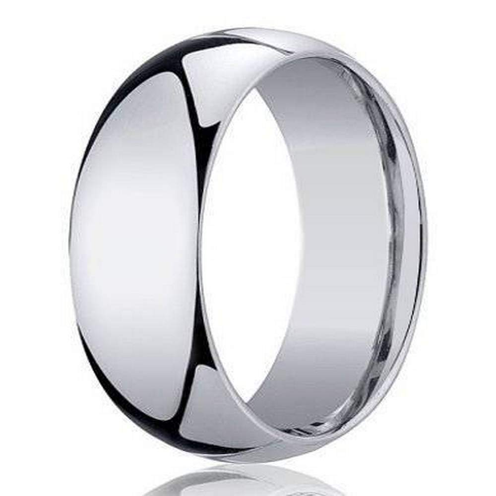 This is a graphic of Designer 42 mm Domed Comfort-fit 42K White Gold Wedding Band - JB4212