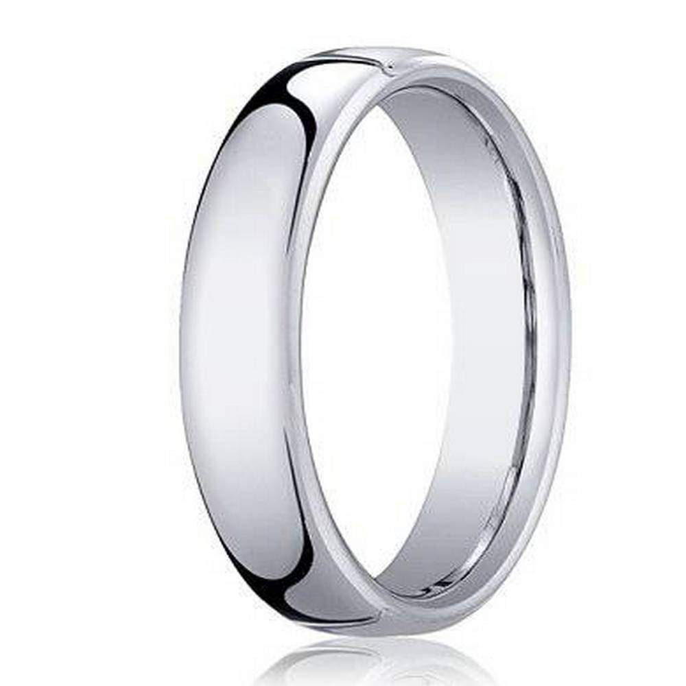 18k white gold classic mens designer wedding band heavy fit 45mm - Mens White Gold Wedding Ring