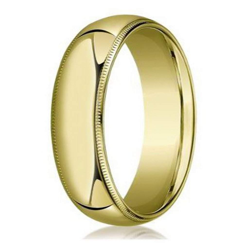 Designer 10K Yellow Gold Wedding Band For Men Beaded Edge 6mm