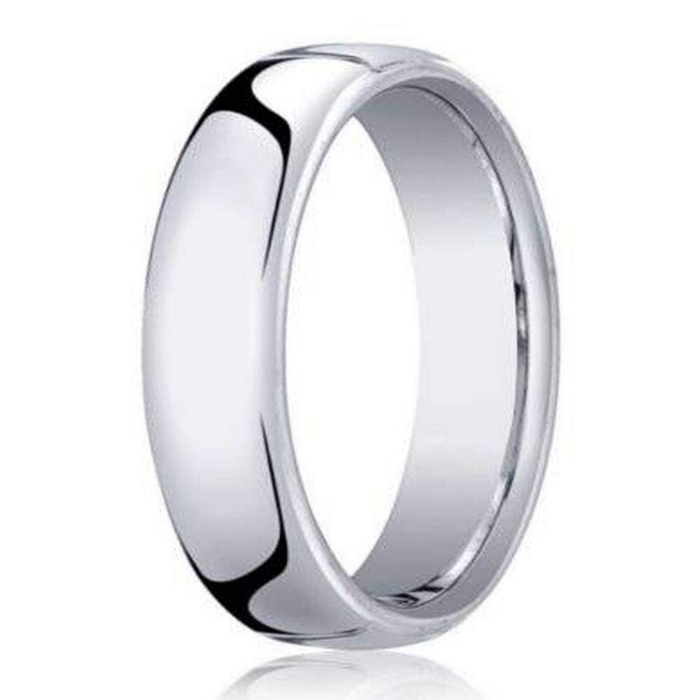 designer mens 18k white gold wedding ring heavy comfort fit 55mm - Mens White Gold Wedding Rings