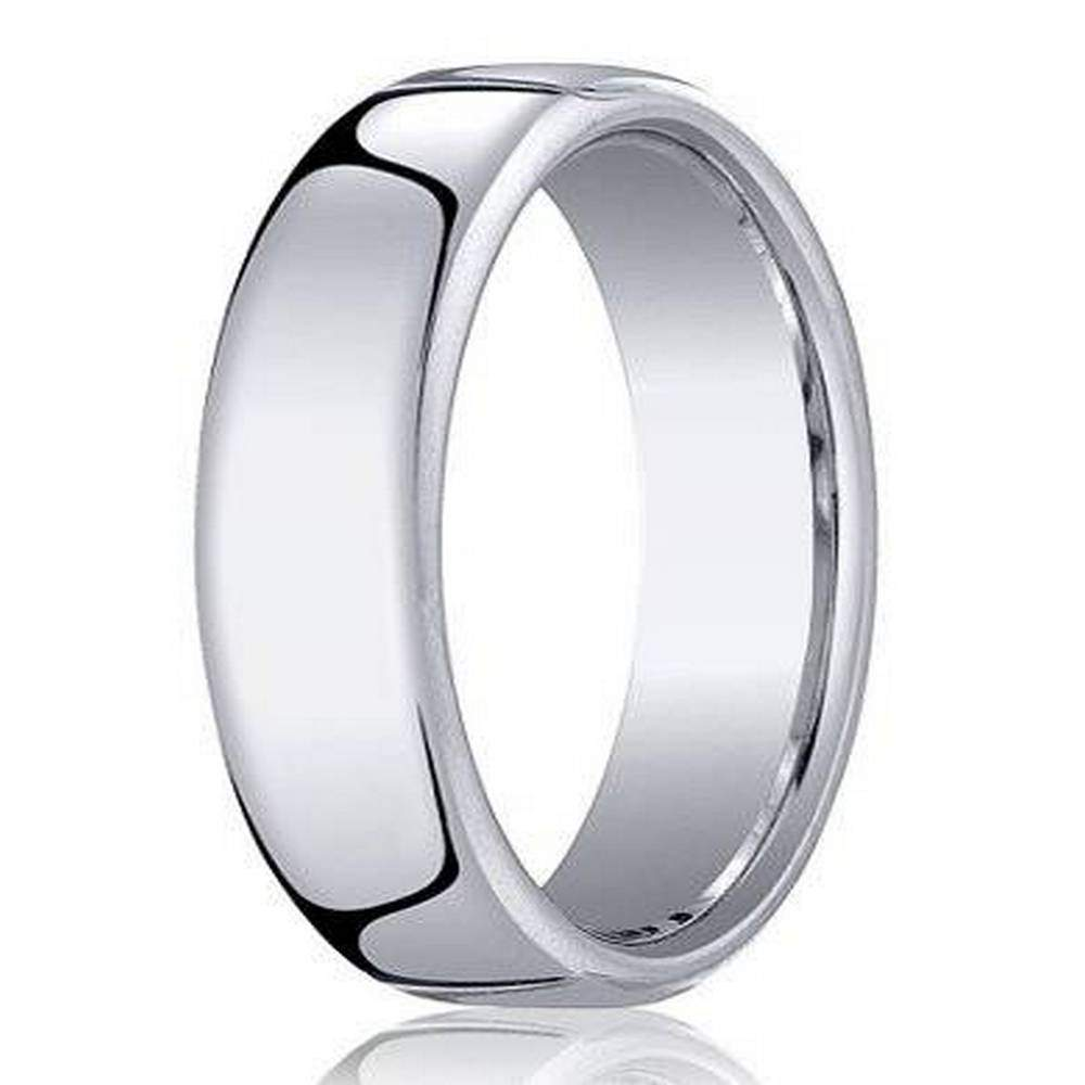 18k White Gold Designer Wedding Band For Men With Heavy Fit 6 5mm