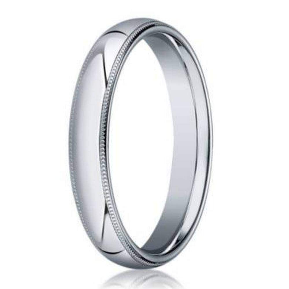 Milgrain Wedding Band 3MM Mens 18K White Gold