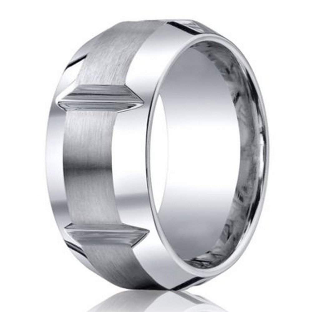 designer cobalt chrome mens wedding ring with grooves 10mm - Wedding Ring Mens