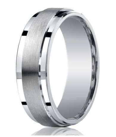 Designer Argentium Silver Satin Band Wedding Ring With Polished Step Down Edges 7mm