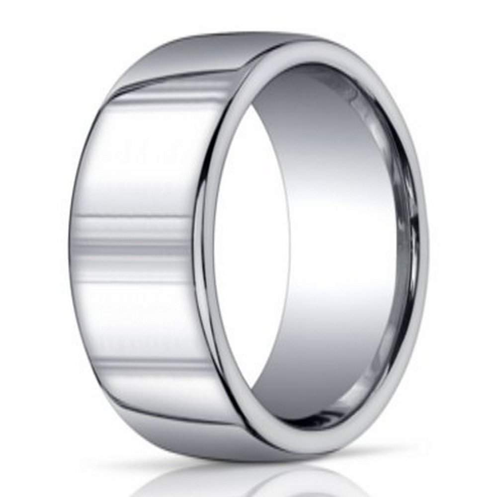 Mens designer argentium silver domed ring 10mm