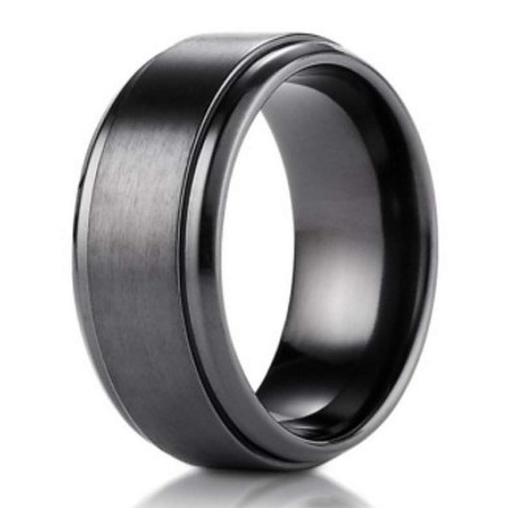 mens men stacked black grooves s with fully ring titanium blue edges bands engagement wedding band cz groove diagnal