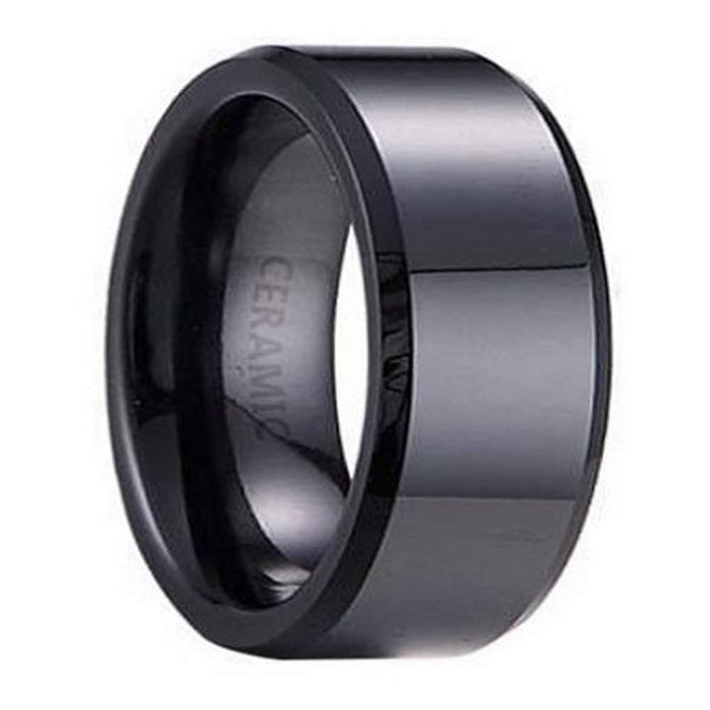 black ceramic men's wedding ring, polished beveled edges | 7mm