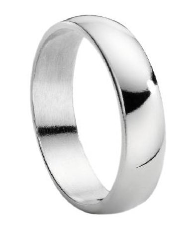 titanium wedding ring for men with polished domed profile 5mm - Titanium Wedding Rings For Men